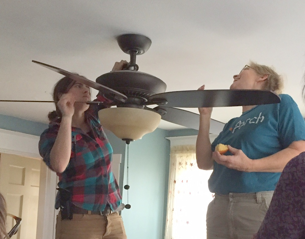Learning the fine points of ceiling fan installation - photo: Cindy Ariel, ThinkOutsideOfTheToolbox